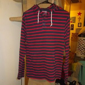 Old Navy red & blue striped hoodie size sp